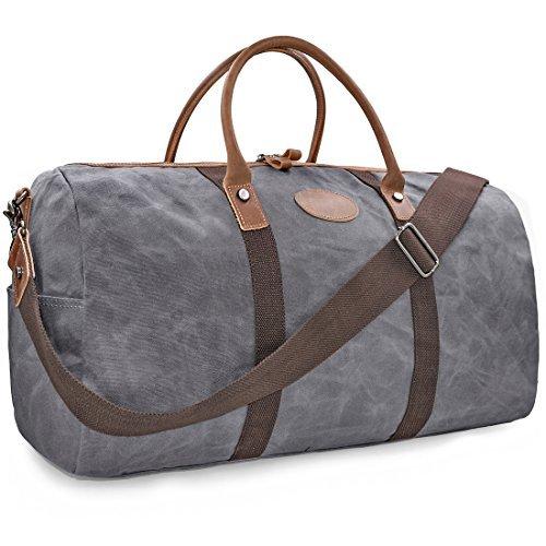 NEWHEY Vintage Reisetasche Leder Wasserdicht Canvas Unisex Handgepäck Weekender Tasche Stoff Duffle Bag Groß Wochenend Tasche Herren Damen Grau
