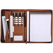 Leathario Marca de Portafolio/ Carpeta Plegable de Mano  PU, Diseñado para Negocios y para tomar notas (Mrrón-A4-1)
