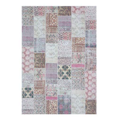 Teppich aus Baumwolle Flachflor Patchwork Vintage Multi Pastelltöne Rosa Wohnzimmer Schlafzimmer Größe 160/230 cm