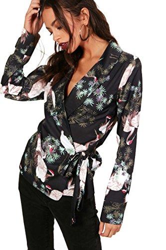 Noir Femmes Alexia Oriental Print Wrap Front Blouse Noir