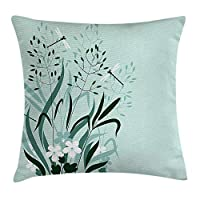 ZKHTO Country Decor Throw Pillow Cushion Cover, Wild Grass and Dragonflies in Growing Lawn Idyllic Herb Bush Rural Pattern, Decorative Square Accent Pillow Case, 18 X 18 inches, Light Green