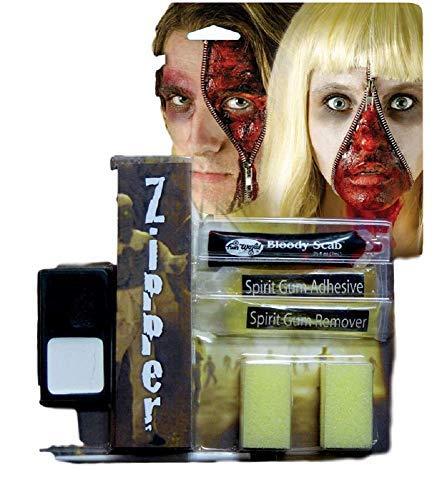 Herren Damen Devil Werwolf Toter Zombie Halloween Spezialeffekte Blutig Reißverschluss Gesichtsfarbe Make-Up Satz - Zombie, One ()