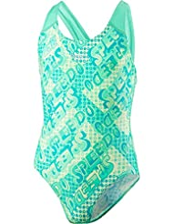 Speedo Girls Rock espacial Allover – Bañador, niña, color Jade/Green Glow/Lemon Sorbet, tamaño talla 30