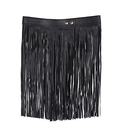 Mujeres Elásticos Mini Falda de Borla de Cuero PU con Flecos ( Negro )