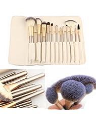 [Sponsorisé]Teeya 12 morceaux maquillage pinceaux professionnels balais brosse cosmétiques maquillage blanc fondation trousses...