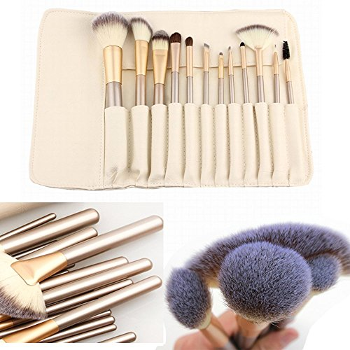 Teeya 12 morceaux maquillage pinceaux professionnels balais brosse cosmétiques maquillage blanc fondation trousses de maquillage couleur crème mis cas sac pinceaux de maquillage