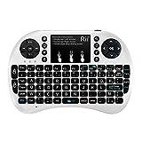 Rii Mini i8+ Wireless (AZERTY) - Mini Clavier Française Rétro-éclairé Ergonomique sans Fil avec Touchpad - Pour Smart TV, mini PC, HTPC, Console, Ordinateur (Blanc)