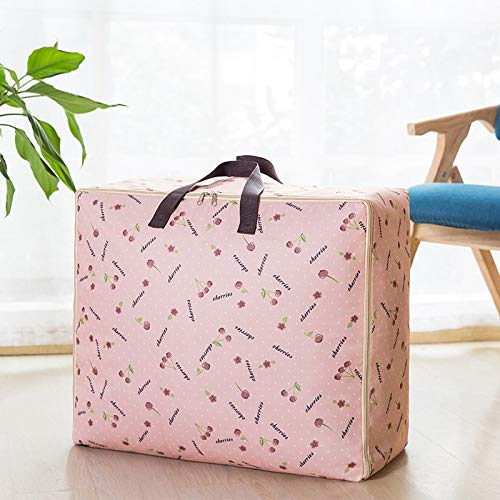 WAINIDE Oxford Quilt Bag Thickened Clothing Cleaning Box Waterproof Movable Bag Waterproof Super Large Bernard Box,Medium Size [52 * 35 * 20],Cherry pink -