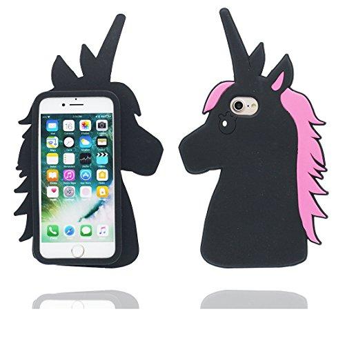 """iPhone 7 Plus Coque, Étui Cover Housse pour iPhone 7 Plus 5.5 """" Cartoon 3D Hibou en Gel TPU Shell iPhone 7 Plus Case (5.5"""") Résistant à la poussière Scratch Noir 1"""