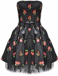 Dead Threads Cherry Würfel/Gothik/Emo Party Mini Kleid, Schwarz, 42 EU/8 UK