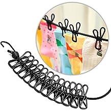 Portátil tendedero, KKtick elástico ajustable retráctil antideslizante a prueba de viento tendedero con 12 Clips, 180-360cm