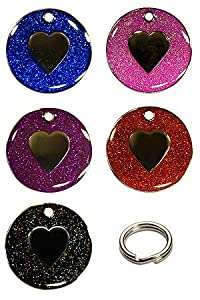 Personalised Engraved 25mm Enamel Glitter Pet ID Tag Dog Heart Design from AJ In The Forest