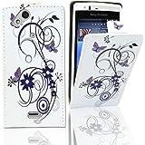 Electro-Weideworld PU Color Funda de Cuero Piel Carcasa para Sony Ericsson Xperia Arc S LT18i LT15i X12 Púrpura Flor