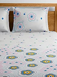 Raymond Home Blue Double Bedsheet with 2 Pillow Covers