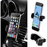 Rhino Gadget Universal Leather Style in Car Air Vent Mount Holder for Apple iPhone 7, 7 Plus, 6, 6S, 6 Plus, iPhone SE 5 5S 5C 4S, Samsung Galaxy S8 Plus, S7 Edge, S6 Edge S5 S4 A3 A5, Note 5 4 3 2 Edge, Alpha A3 A5 A7 A8, LG G6 G5 G4 G3, HTC One M9 M8 10, Google Pixel, Nexus 6P 5X 6, Huawei P8 P9 P10, OnePlus 2 3, Sony Xperia XZ Premium X Z3 Z4 smartphones with Large Screens up to 6inch - Black