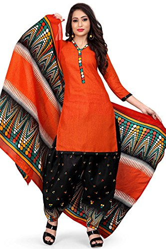 Rajnandini Women\'s Cotton Printed Patiala Unstitched Dress Material(JOPLVSM3938_Orange_Free Size)