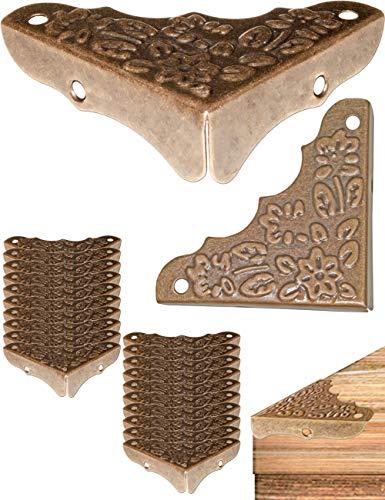 FUXXER® - 20x Antike Möbel-Ecken, Beschläge, Eck-Schützer, Kanten-Schutz für Kisten Boxen Möbel Regal Tisch, Vintage Messing Antik Optik, 20er Set