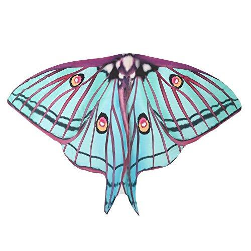 Chiffon Umschlagtücher, ESAILQ Damen Lange Schmetterling Flügel Weiche Schal überwurf Fairy Damen Nymphe Pixie Kostüm Zubehör 180X145CM / 185X145CM (Grün, 185 x (Kostüm Up Make Pfau)