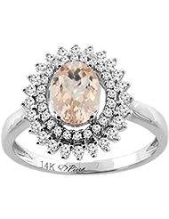 Revoni 14ct oro colgantes Natural anillo de doble Halo Oval 8 x 6 mm acentos de diamante