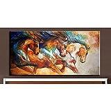 HANDBEMALT Moderne Stil Abstrakt Tiere Bronze Pferde Ölgemälde Wandschmuck Leinwand Home Wand Wohnzimmer Art Artwork feine, canvas, 40x80inch(100x200cm)