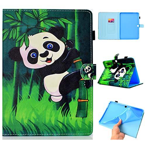 YKTO Hülle für Samsung Galaxy Tab 4 2014 T530 Case 10.1 Zoll PU Leder Handyhülle Buch Style Magnetisch Stand Fall Weich Silikon Protective Etui Wallet Klapphülle Schutzhülle Bambus Panda -