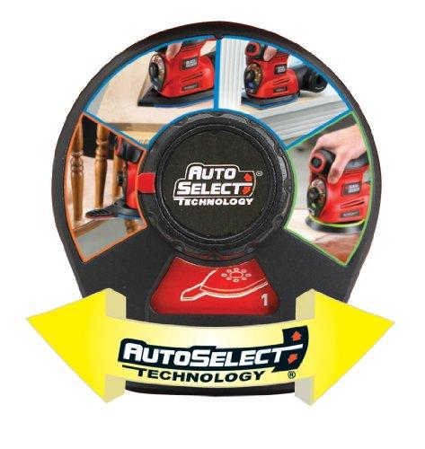 Black + Decker 220 Watt Multischleifer Autoselect 4-in-1 Schleifer, inklusive Zubehör und im Koffer, KA280K