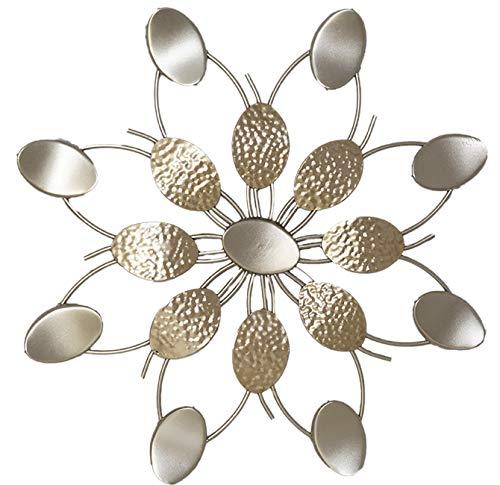Formano - Extravagante Wanddeko Industrie Design Blume - Moderne Wanddekoration Metall-Bild Champagner Gold - 60cm Groß