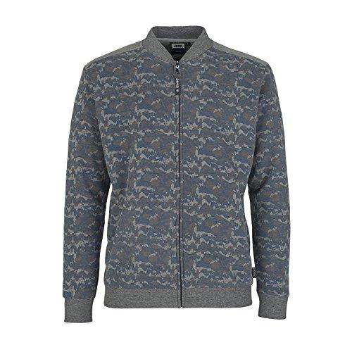 Jeep Herren J Man Woodland Print Brushed Fleece Sweatshirt F/Z J6W Sweatjacke, Woodl.Blue/Med.G.Mel, M Woodland Fleece-sweatshirt