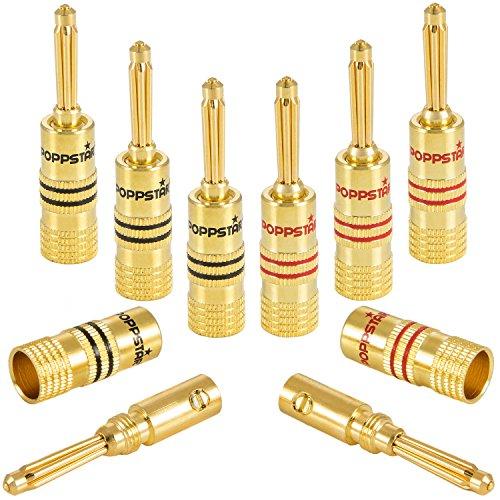 Conectores de banana Poppstar 8 terminales para cable de altavoz (hasta 4 mm²), receptor AV, chapados en oro de 24 K (4 negros, 4 rojos)