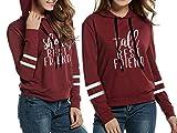 Beste Freunde Hoodie Pullover Für 2 Mädchen Best Friends Sweater BFF Pulli Sister Sweatershirt Kapuze Schwarz Weiß Schwester Geschenk 2 Stücke(Rot,Short-XS+Tall-XS)