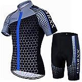 X-Labor - Maglia da Ciclismo da Uomo, in Jersey, Asciugatura Rapida, a Maniche Corte + Pantaloncini da Ciclismo con Imbottitura 3D, Uomo, Blu, EU S (Tag:M)