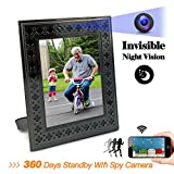 Panoraxy WiFi Hidden Spy Camera, Picture Frame Nanny Cam, 100% Wirefree,10m Night Vision, PIR Activated Local Record,HD Live Video,10400mah Battery, Instant Push