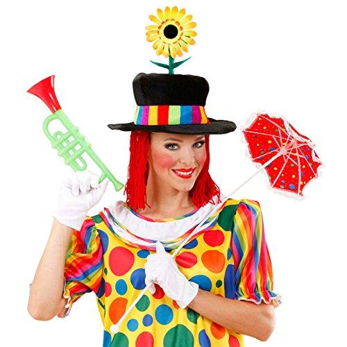 Amakando Clown Hut Clownhut mit Blume und Haaren Harlekin Samthut Kindergeburtstag Kopfbedeckung Lustige Clownmütze Witziger Clownshut
