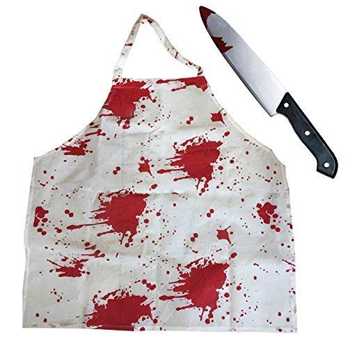 Erwachsene blutig Schürze + blutig Messer perfekt für Halloween Kostüm Zubehör Zombie Killer Chef METZGER Film Kostüme erhältlich in einem (Film Kostüme Guide)