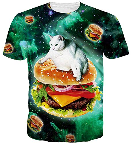 Goodstoworld T Shirt 3D Katze Hamburger Druck Herren Damen Printed Sommer Lustig Beiläufige Kurzarm Cooles T-Shirts Tee Top M