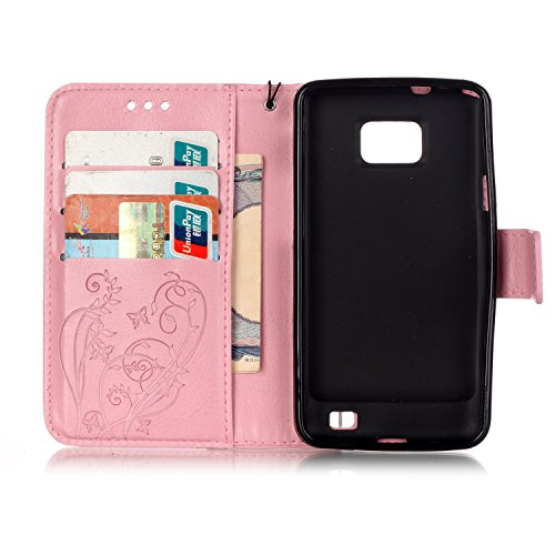 Prägen Blumen-Case, Magnetverschluss Synthetische PU-Leder-Kasten-Abdeckung mit hängenden Seil und Wallet-Funktion für Samsung S2 I9100 ( Color : Pink , Size : Samsung S2 I9100 ) Pink