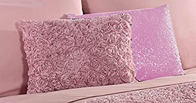 Pink Oblong scatter Cushion with Ruffle Raised Rose Design