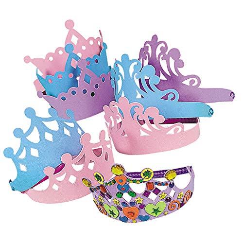Elfen und Zwerge - Krone - Prinzessin - Kopfschmuck für Kinder - Kindergeburtstag & Prinzessinnenparty - aus Moosgummi - 12 Stück