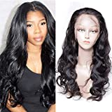 Maxine 360 Frontal Wig 130% Density Body Wave Brazilian Remy Human Hair Swiss Lace Front Wigs with Baby Hair for Women with Adjustable Strap Natural Color 24 inch