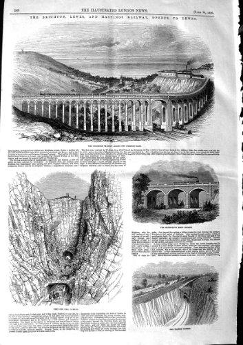 Old Antiker Druck 1846Brighton Eisenbahn Viadukt Falmer Hodshrove Brücke