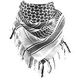 FREE SOLDIER - Sciarpa avvolgente 100% cotone, Shemagh militare, sciarpa tattica araba Keffiyeh ideale per i militari nel deserto, adatta per uomini e donne, bianca