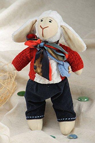 Schones exklusives Kuscheltier Schaf handmade aus Leinen im Anzug fur Kinder (Hose Leinen Gewaschenes)
