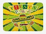 JIEKEIO Fiesta Bath Mat, Sprites with Sombrero Maracas Mustache Mexican Hand Drawn Illustration, Plush Bathroom Decor Mat with Non Slip Backing, 23.6 W X 15.7 W Inches, Green Yellow Vermilion