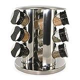 Saveur et Dégustation kb5757 -Soporte en Torre Circular para Especias con 9Botes de Cristal con Tapas de Acero Inoxidable y plástico, 20,5x 20,5x 22,2cm, Transparente/Negro