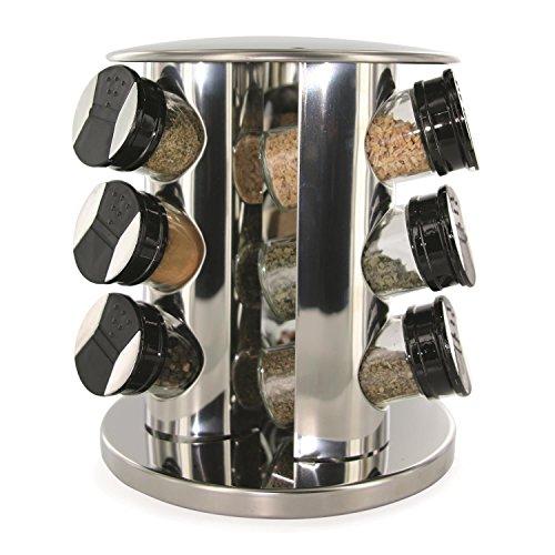 SAVEUR & DEGUSTATION Saveur et Dégustation Gewürzkarussell, Rund, mit 9 Behältern inkl. Deckel, Glas, Edelstahl, Transparenter Kunststoff, Schwarz, 20,5x20,5x 22,2cm, KB5757