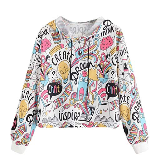 B-commerce Mode Damen Herbst Winter Casual Bluse Langarm Graffiti Print Kordelzug Hoodie Sweatshirt Pullover Tops Quilted Trench
