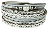 Mevina Damen Armband Perle Perlenarmband geflochten Glitzer Pailletten Wickelarmband Magnetverschluss Luxus Premium Grau A1343