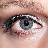 KwikSibs farbige Kontaktlinsen, grau, 1-farbig, weich, inklusive Behälter, BC 8.6 mm / DIA 14.0 / +1,00 Dioptrien, 1er Pack (1 x 2 Stück)