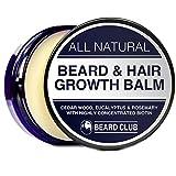 Barbe et Cheveux Baume de Croissance | Avec Biotine Hautement Concentrée | Parfum Bois de Cèdre, Eucalyptus & Romarin | La Meilleure Solution aux Trous dans la Barbe