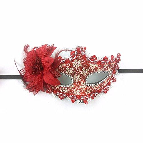 Maskerade,Maske Männer und Frauen Halloween Hexentanz Vollgesicht Kinder Prinzessin Maske Maske mit Blume rot Masquerade (Für Männer Maskerade-masken Rote)